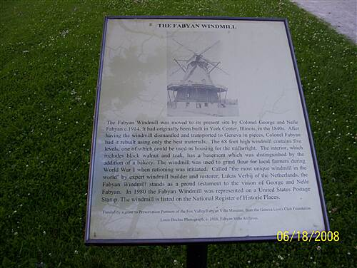 Fox River Trail (IL)  Fabyan Windmill information
