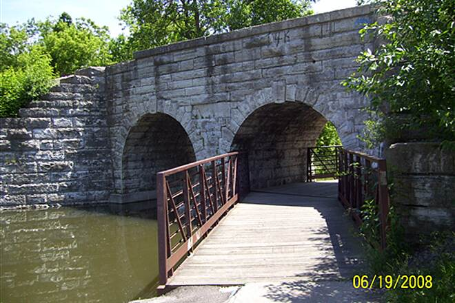 Fox River Trail (IL)  the stone bridge is just west of the Prairie Path junction