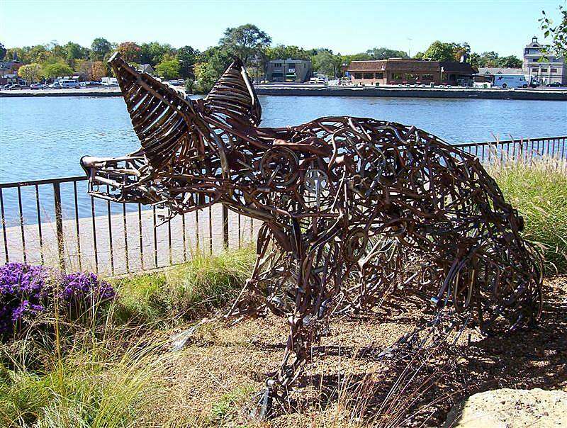 Fox River Trail (IL) 'Foxy' sentinal at St. Charles Metal-crafted critter is well-known to Fox River Trail users in St. Charles.