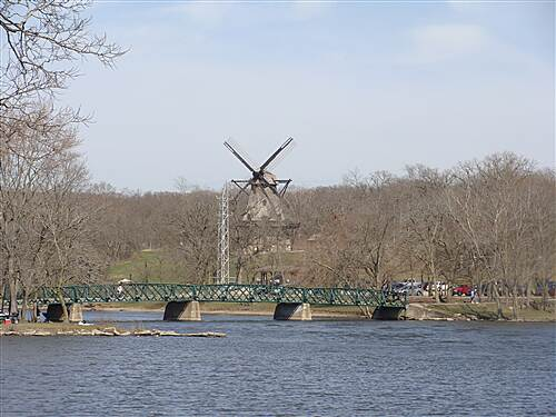 Fox River Trail (IL) beautiful view of windmill March 2010