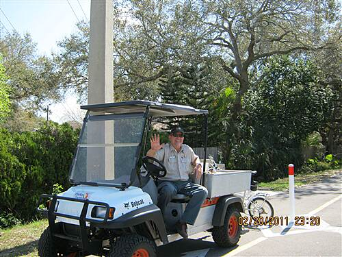 Fred Marquis Pinellas Trail   I met amiable Greg as he worked painting posts on the trail.