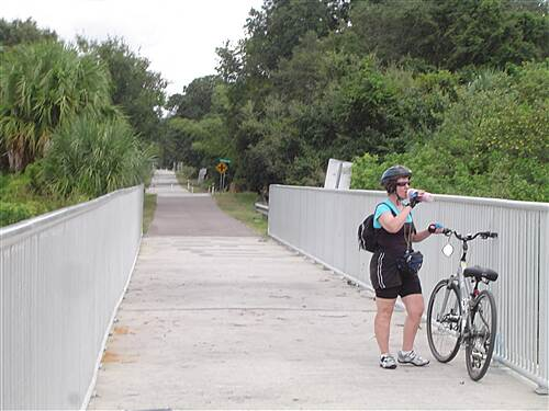 Fred Marquis Pinellas Trail Florida  Bike Trip - 2008 My Wife taking  a break