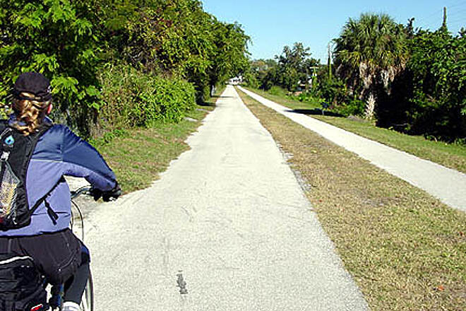 Fred Marquis Pinellas Trail Kelli rides along in North Largo
