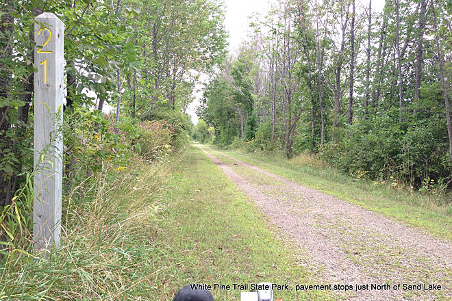 Fred Meijer White Pine Trail State Park Pavement ends mile marker 21 Pavement ends mile marker 21, just North of Sand Lake, MI