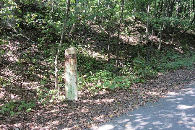 Fred Meijer White Pine Trail State Park Old Marker Old railroad marker.