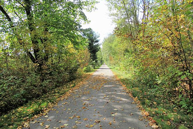 Fred Meijer White Pine Trail State Park Flat paved trail Trail is flat and asphalt paved.