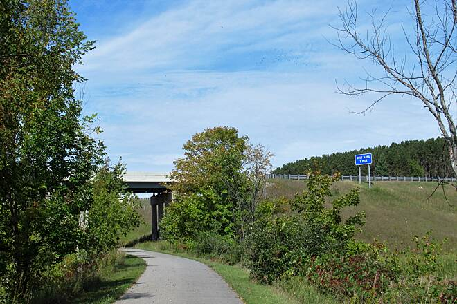 Fred Meijer White Pine Trail State Park Under 131 Trail goes under Route 131