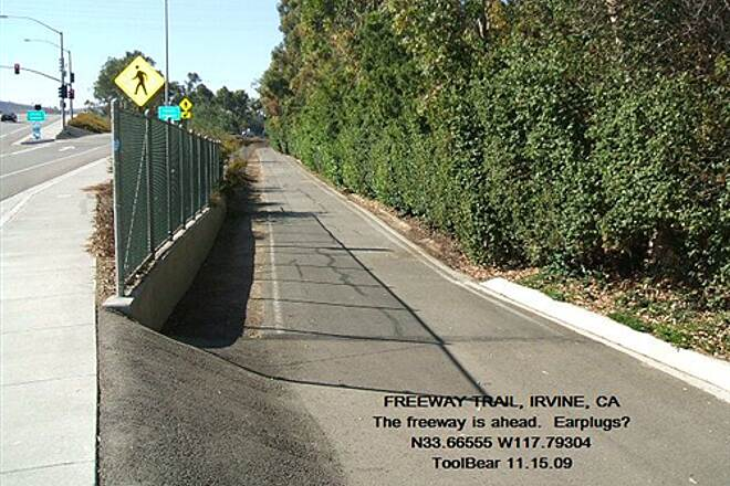 Freeway Trail FREEWAY TRAIL, IRVINE, CA The bike-walk is behind you, the freeway ahead.