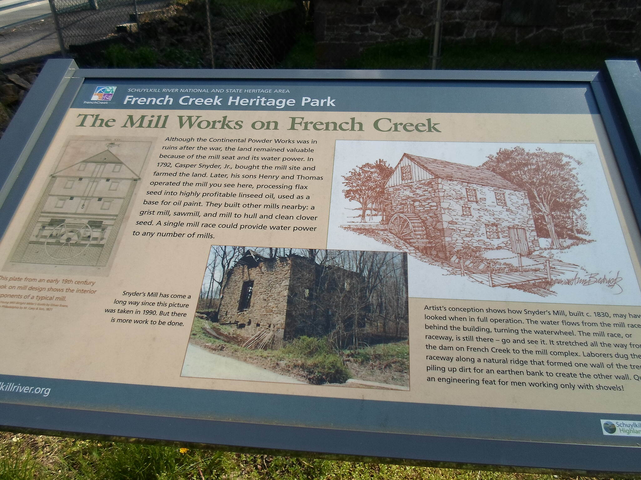 French Creek Trail French Creek Heritage Trail Interpretive sign describing the history of nearby Snyder's Mill.