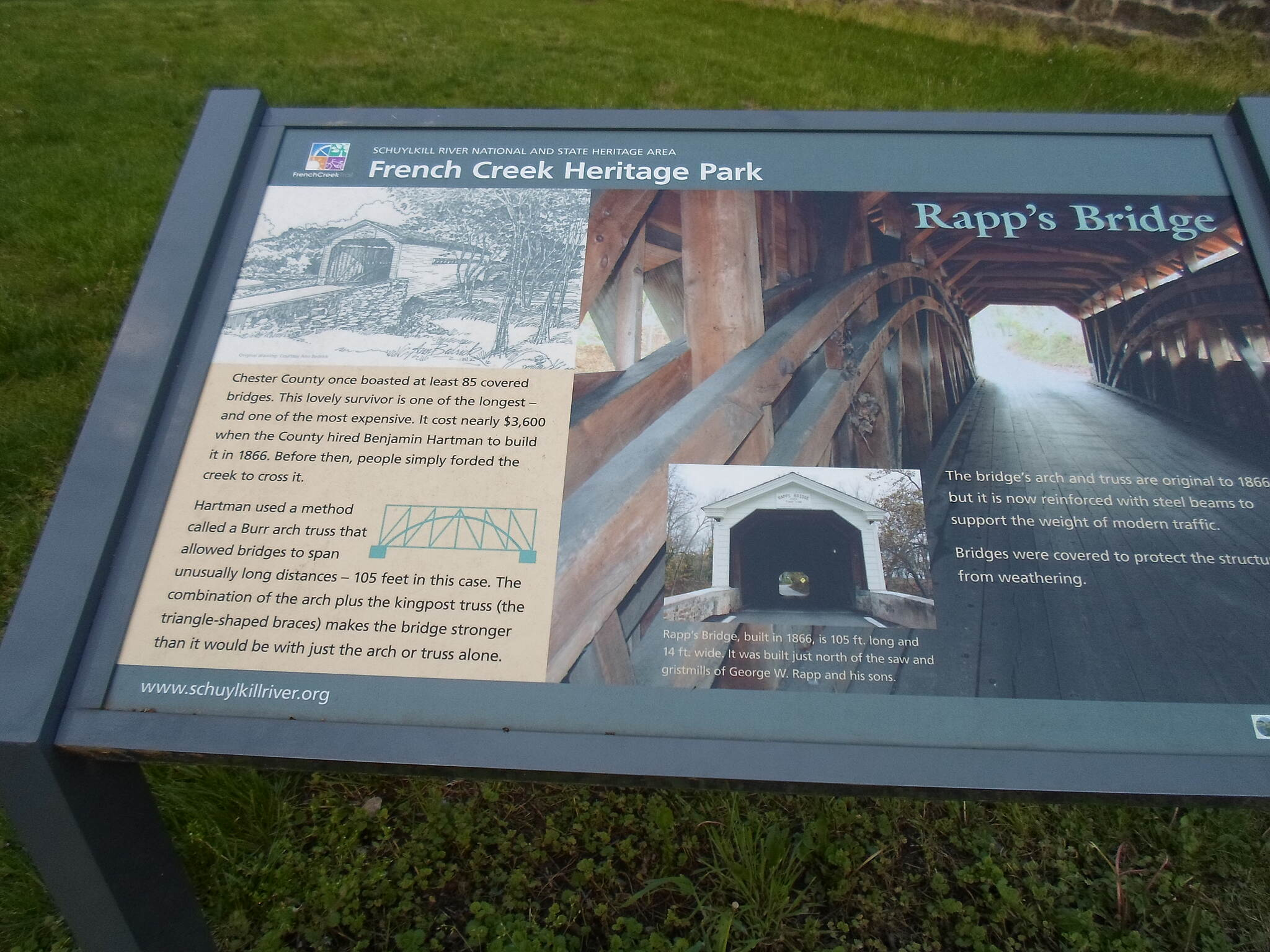 French Creek Trail French Creek Heritage Trail Interpretive signage on the history of Rapps Covered Bridge.