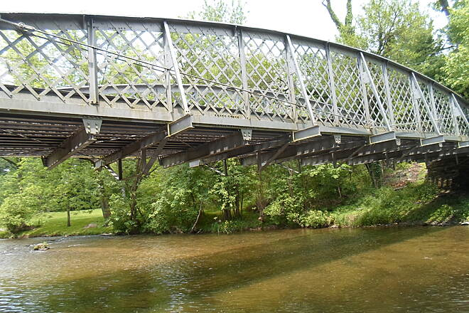 French Creek Trail French Creek Heritage Trail This old truss bridge carries Hares Hill Road across French Creek; it is located at the trail's current, western terminus. Taken May 2016.