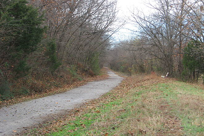 Frisco Greenway Trail Much of the trail is buffered by trees. Photo courtesy Joplin Trails Coalition.