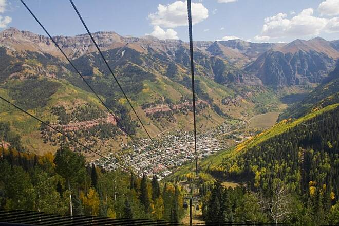 Galloping Goose Trail (CO) View of Telluride from a cable car