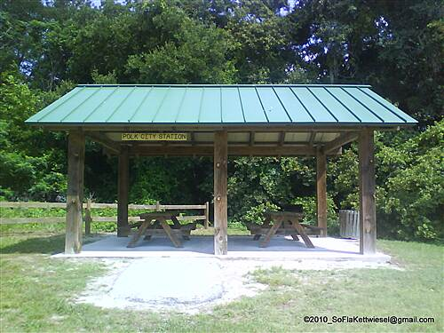 General James A. Van Fleet State Trail Polk City Station picnic shelter at trailhead