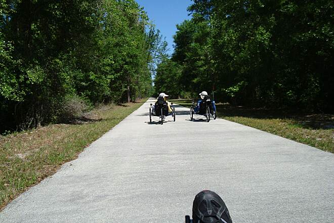 General James A. Van Fleet State Trail From Bay Lake to Mabel having fun riding the trail on a march day.