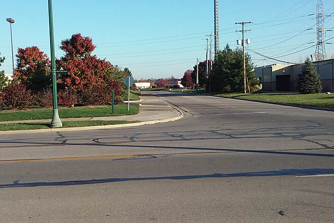 Genoa Trail Northbound Nov 2016 South end of Genoa Trail start here at the intersection of Maxtown Rd and Northgate Way in Westerville, the trail goes around behind Home Depot and Kroger then rejoins the RR right-of-way along N State St