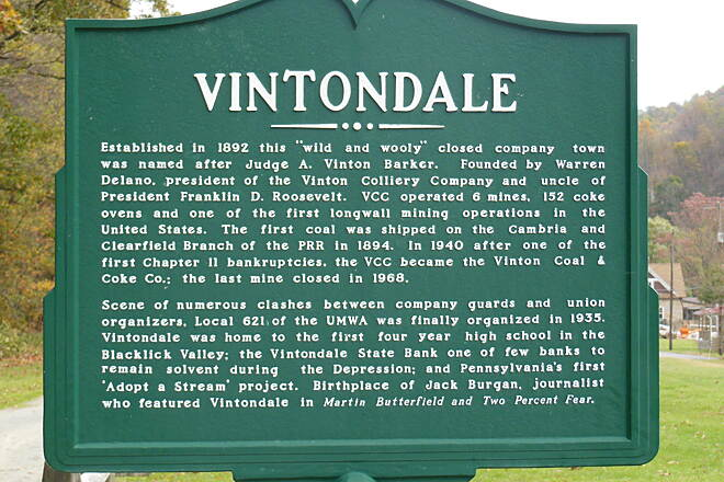 Ghost Town Trail Vintondale historic marker