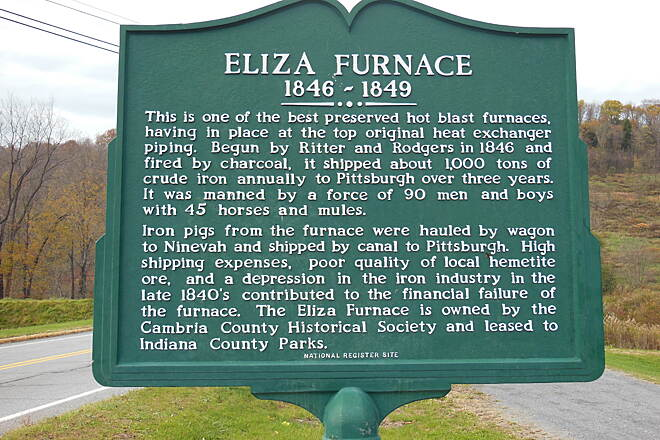 Ghost Town Trail Eliza Furnace historic marker