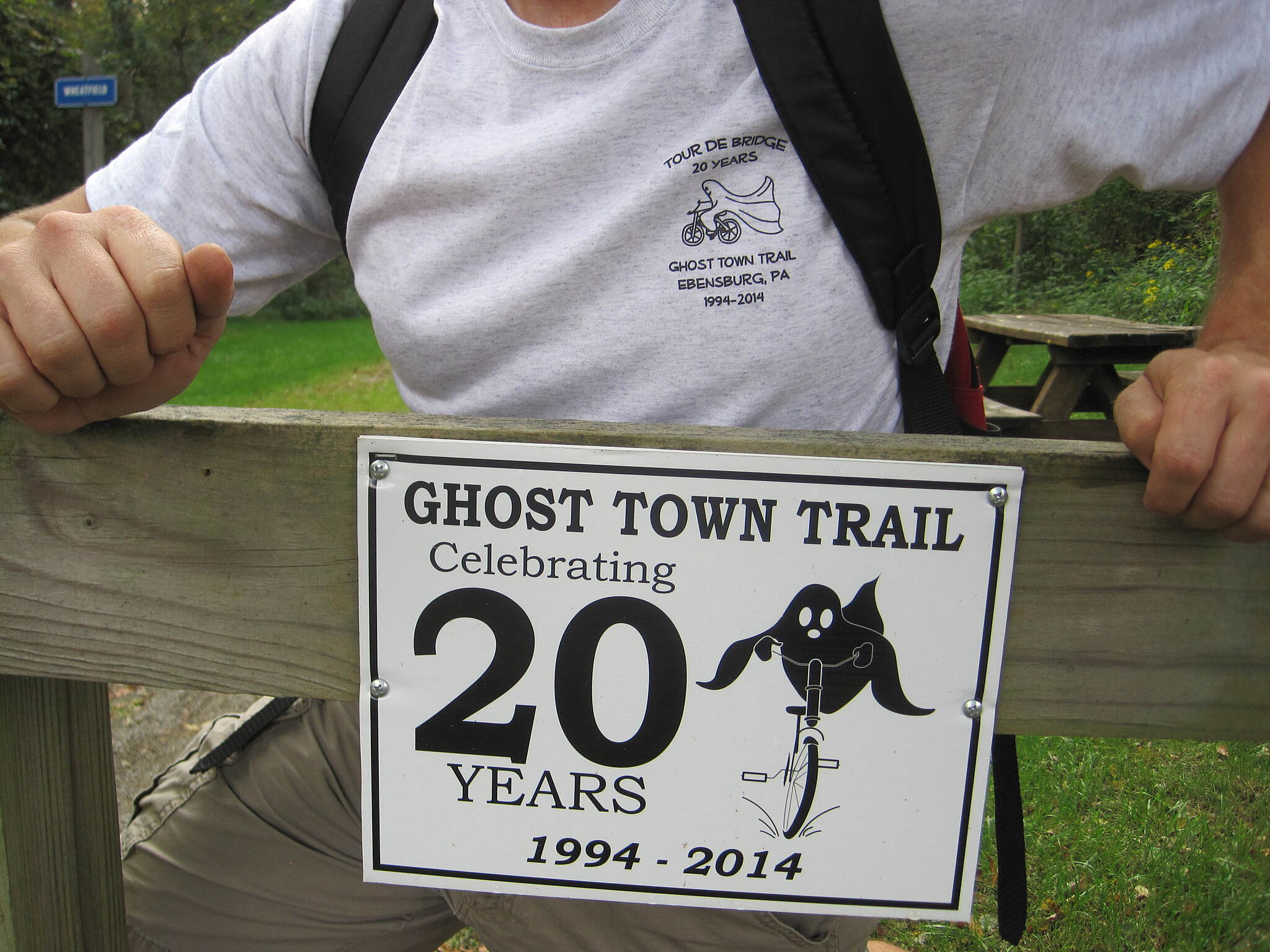 Ghost Town Trail Commemorative T-shirts Our family t-shirt design for our ride on the Ghost Town Trail was eerily similar to the commemoratory plague marking the 20th anniversary of the trail.
