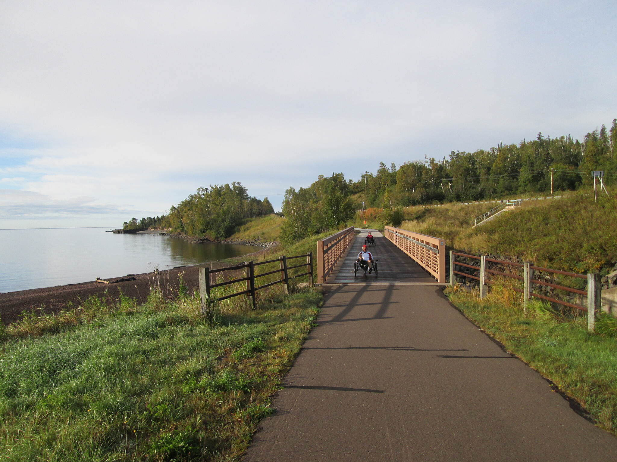 Gitchi-Gami State Trail Bridge Beside Lake Superior Riding trikes across a bridge beside Lake Superior on the Gitchi-Gami Trail North of Gooseberry Falls State Park, Sept 2015