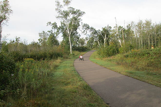 Gitchi-Gami State Trail Giichi-Gami Trail Riding trikes on the trail between Gooseberry Falls State Park and Split-Rock Lighthouse State Park, Sept 2015