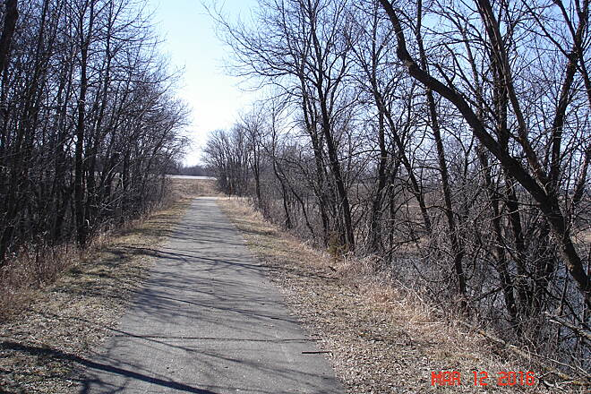 Glacial Lakes State Trail Between Willmar and Spice March 12, 2016 - an easy 6 mile run between Willmar and Spicer.  Our 8 year old girls handled it just fine with good quality bikes.