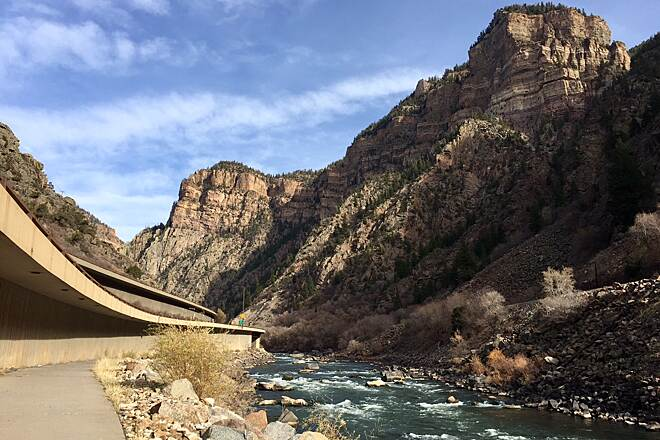 Glenwood Canyon Recreation Trail paradoxical view Natural marvel to one side; engineering marvel to the other.