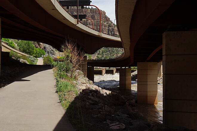 Glenwood Canyon Recreation Trail Glenwood Canyon Trail Under I-70 roadway near Hanging Lake.