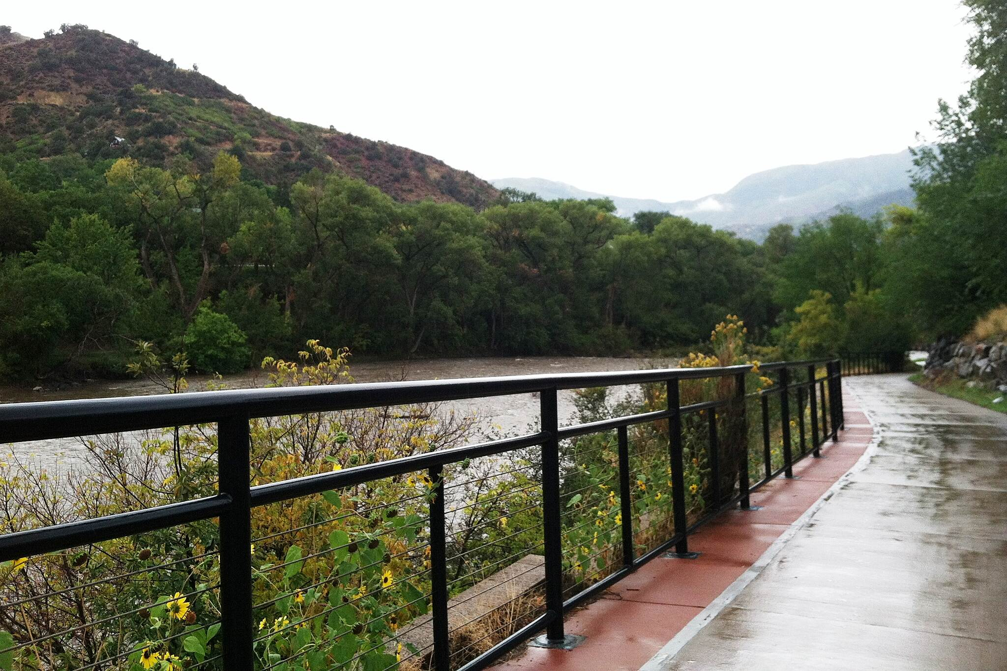 Glenwood Canyon Recreation Trail Riverside Despite the rain, running alongside the river was still awesome.