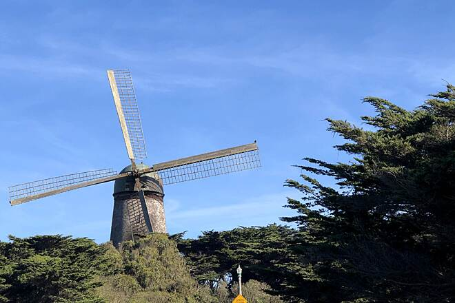 Golden Gate Park Bike Path end of Golden Gate Park- Dutch Windmill