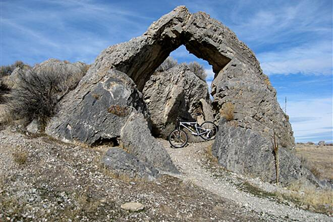 Golden Spike National Historic Site Chinaman's Arch. There is an information sign nearby.