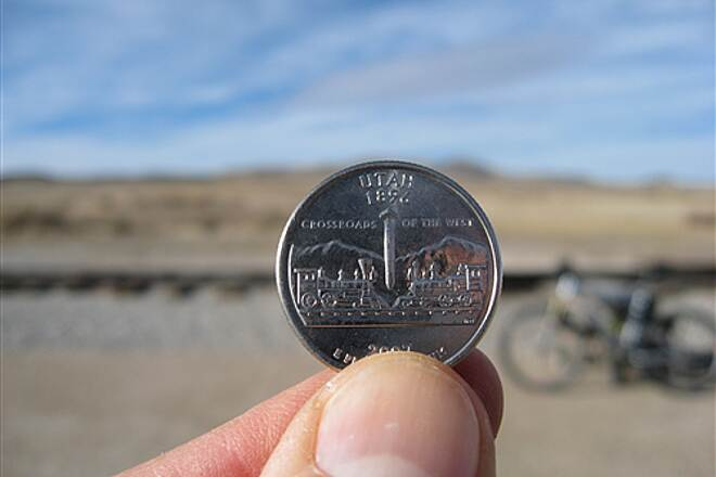 Golden Spike National Historic Site The state quarter at the Golden Spike site. The spike seems exaggerated   : )