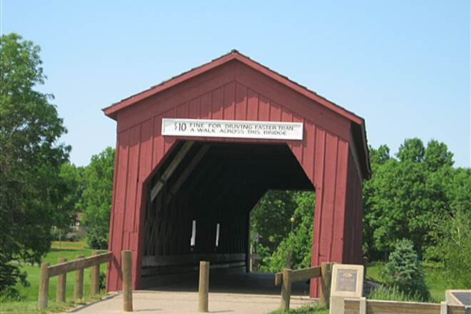 Goodhue Pioneer State Trail  Large covered bridge in city park