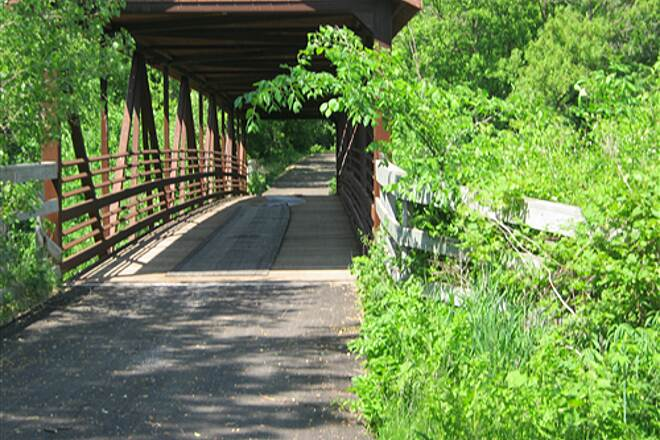 Goodhue Pioneer State Trail  Covered bridge on the trail.