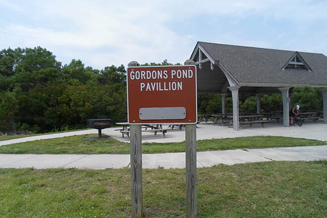Gordons Pond Trail Gordons Pond Trail Pavilion at the southern terminus of the trail near Rehoboth Beach. Taken July 2015.