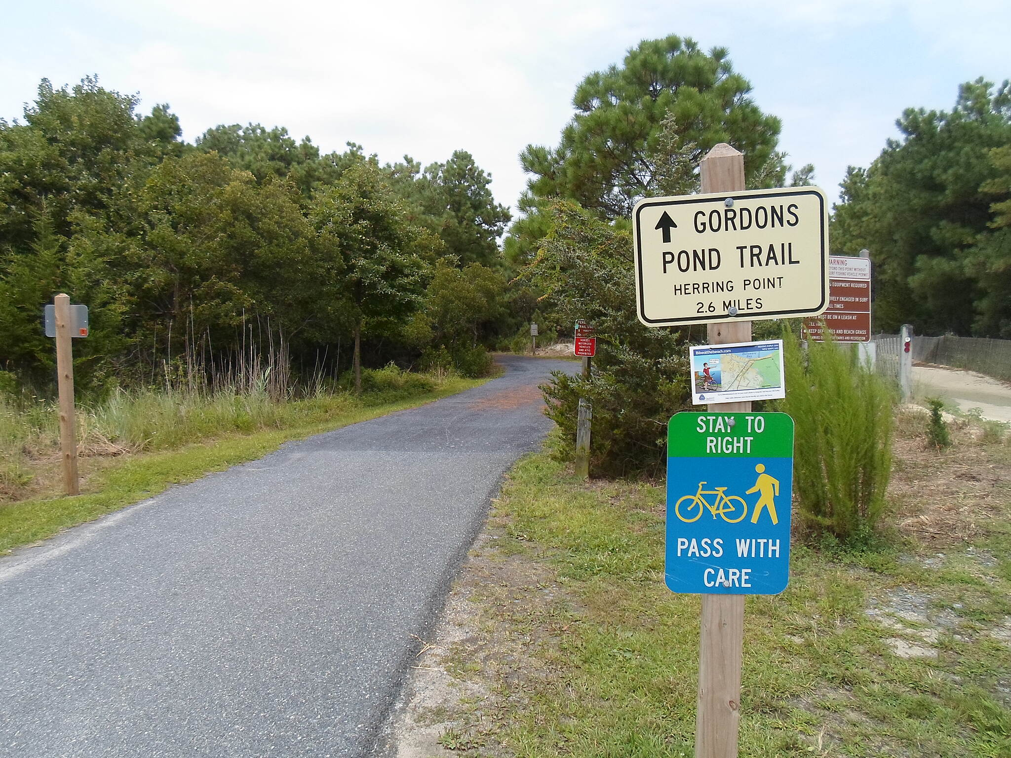 Gordons Pond Trail Gordons Pond Trail Signs near the southern terminus guiding trail users and reminding them of proper etiquette.