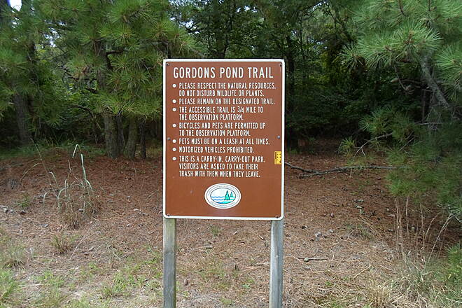 Gordons Pond Trail Gordons Pond Trail Another sign near the southern terminus at Whiskey Springs/North Shores. Taken July 2015.
