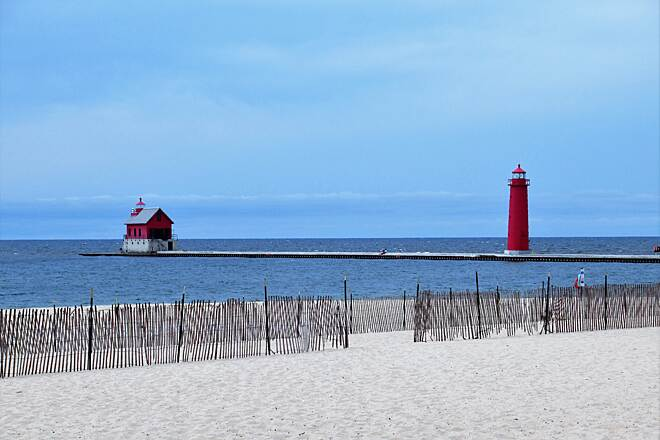Grand Haven Waterfront Trail Two Lighthouses on the Pier The new catwalk which has been closed for 2 years due to renovations.  View from Grand Haven State Park.