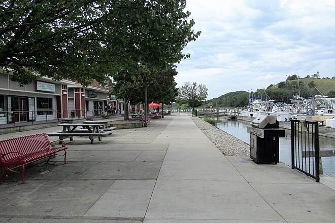 Grand Haven Waterfront Trail Shops along the trail Located near the Grand River sailing club and Grand River are small shops.  Also nearby is a restroom.