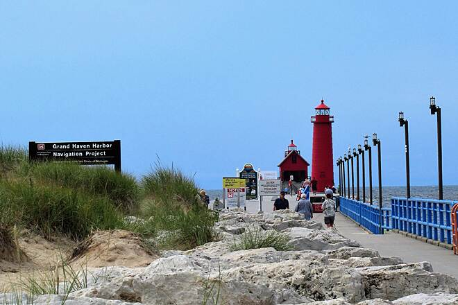 Grand Haven Waterfront Trail Grand Haven Lighthouses  The bike trail goes along the Grand River out to the lighthouse pier/catwalk.