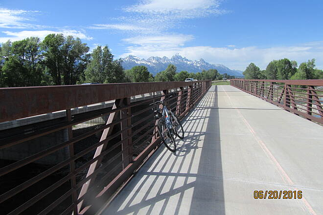 Grand Teton Multi-use Pathway Bride on the Trail Great view with the Grand Tetons straight ahead.