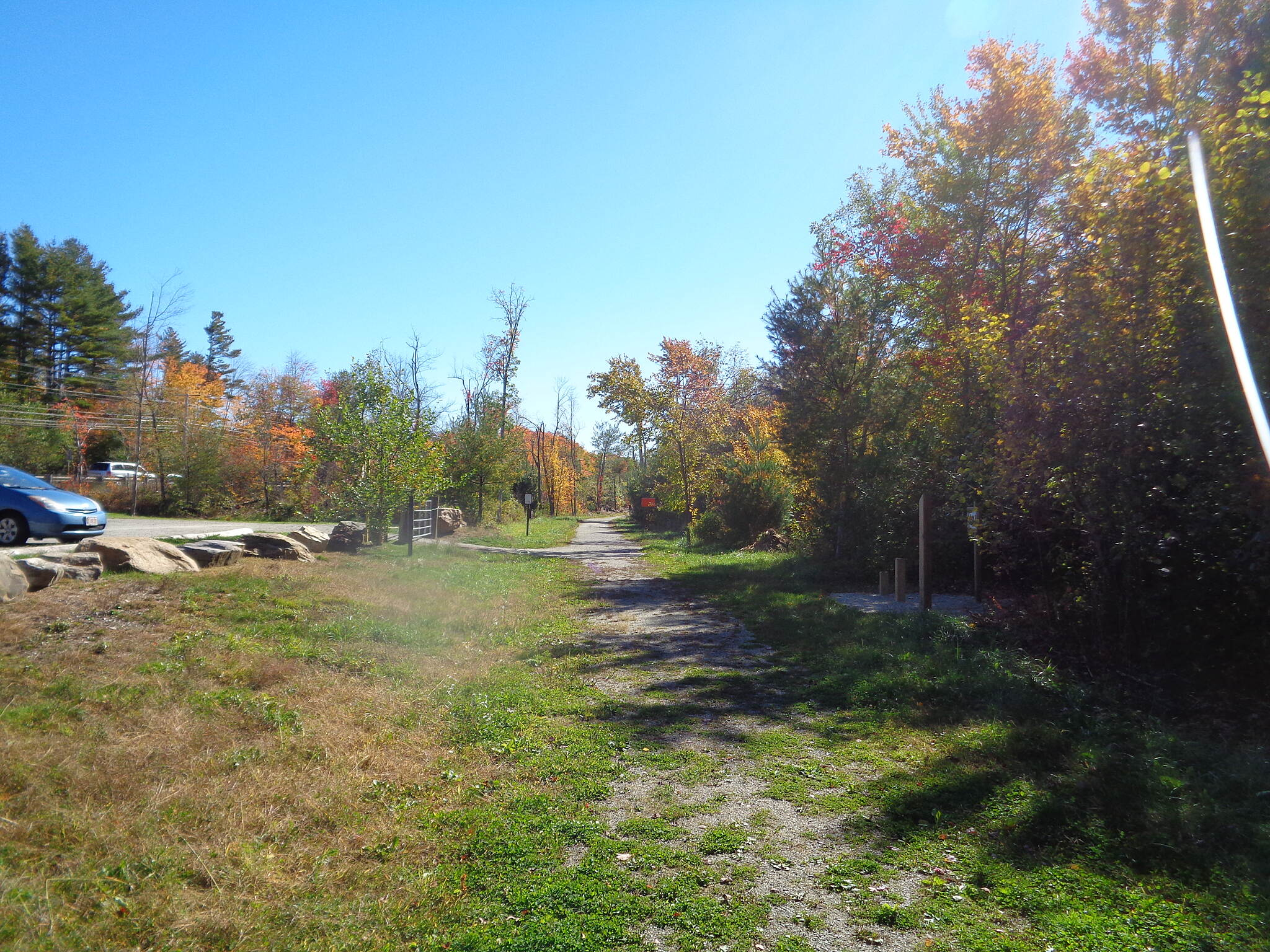 Grand Trunk Trail Current west end This is at the Route US 20 parking area looking east along the Trolley Trail in East Brimfield on 10/10/16