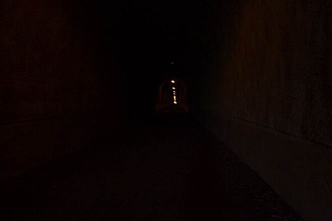 Great Allegheny Passage Inside the Big Savage Tunnel Dark and Cool. Very nice on a hot sunny day.