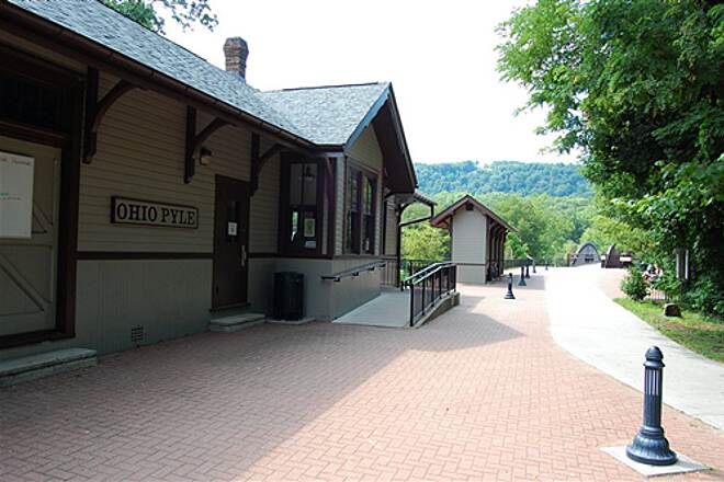 Great Allegheny Passage Ohiopyle, PA Train Station Ohiopyle GAP trail head and parking and visitor center