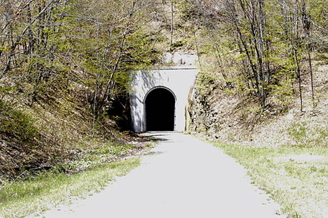 Great Allegheny Passage Allegheny Highlands Trail of Pennsylvania The entrance to the 3,294 foot long Big Savage Tunnel