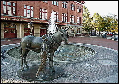 Great Allegheny Passage Allegheny Highlands Trail of Maryland In front of the Cumberland Station is this statuary honoring the past workers, both human and animal, of the Chesapeake & Ohio Canal.