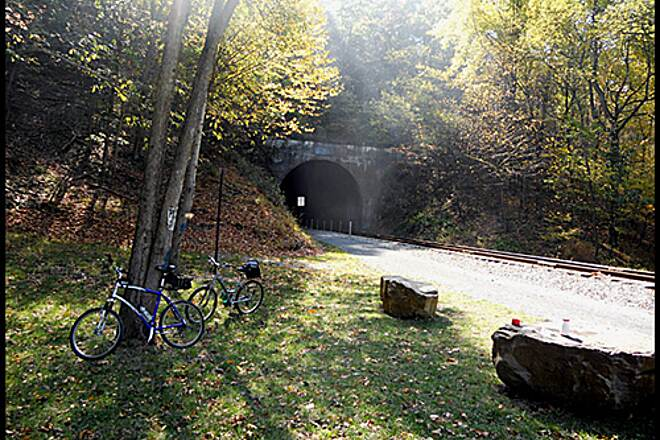Great Allegheny Passage Allegheny Highlands Trail of Maryland The East side entrance to the Brush tunnel