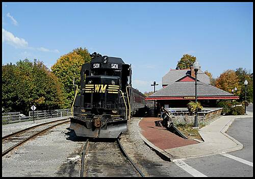 Great Allegheny Passage Allegheny Highlands Trail of Maryland A head-on look at the Western Maryland Scenic Railway's Diesel Locomotive with the Frostburg Station in view