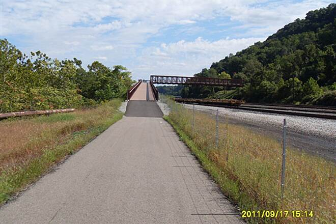 Great Allegheny Passage   Heading toward the first bridge to cross over the train tracks