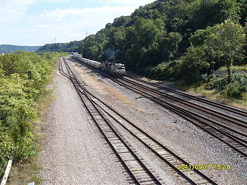 Great Allegheny Passage   From the bridge, crossing the six live train tracks